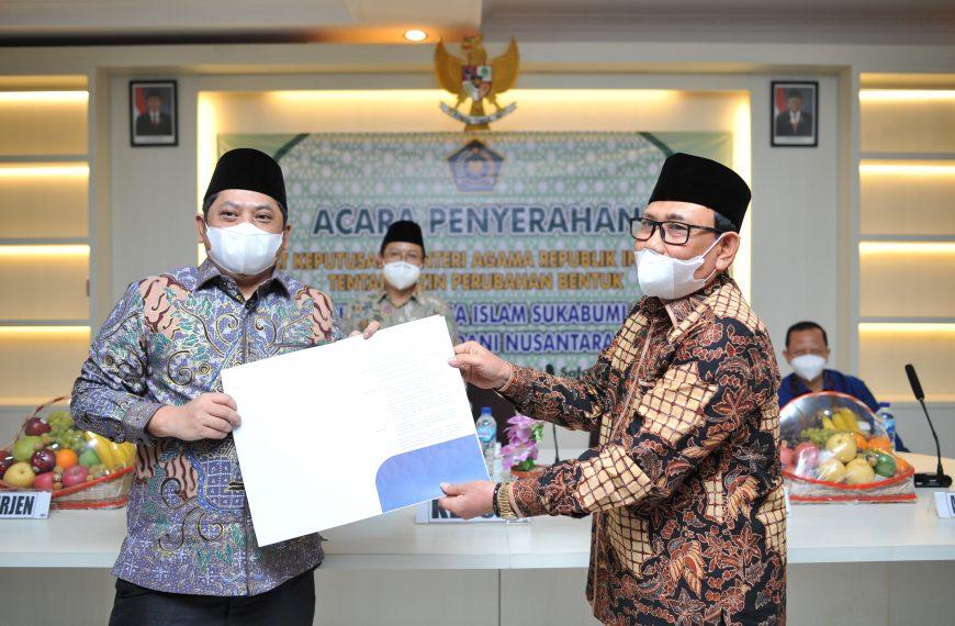 Peyerahan SK Perubahan Bentuk Sekolah Tinggi Agama Islam Sukabumi (STAI) Ke Institut Madani Nusantara (IMN)